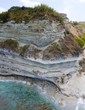 Promontory, coast, cliff, cliff overlooking the sea, Ricadi, Cape Vaticano, Calabria. Aerial view Stock Photography