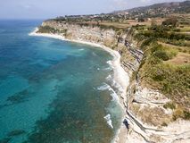 Promontory, coast, cliff, cliff overlooking the sea, Ricadi, Cape Vaticano, Calabria. Aerial view Stock Image