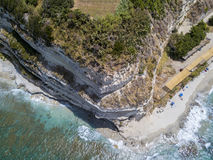 Promontory, coast, cliff, cliff overlooking the sea, Ricadi, Cape Vaticano, Calabria. Aerial view Stock Photo