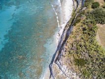 Promontory, coast, cliff, cliff overlooking the sea, Ricadi, Cape Vaticano, Calabria. Aerial view Royalty Free Stock Photo
