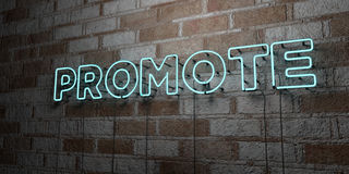 PROMOTE - Glowing Neon Sign on stonework wall - 3D rendered royalty free stock illustration. Can be used for online banner ads and direct mailers Royalty Free Stock Image