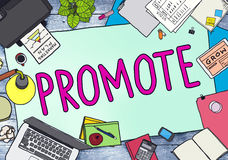 Promote Marketing Plan Commercial Promotion Concept.  Royalty Free Stock Images