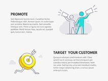 Promote and Target your customer. Marketing business concept. Vector thin line illustration design Stock Photo