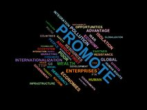 PROMOTE - word cloud wordcloud - terms from the globalization, economy and policy environment Stock Photos