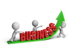 Promote your business. The team of businessmen promotes your business. 3d image. White background Stock Photos