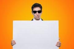 Promoter guy with signboard Royalty Free Stock Photo