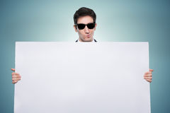 Promoter guy with white board Stock Images