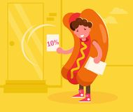 Promoter in a hot dog costume handing out leaflets. Vector. Cartoon. Isolated art. Promoter in a hot dog costume handing out leaflets. Vector. Cartoon. Isolated royalty free illustration