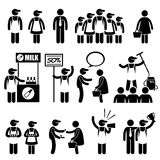 Promoter Salesman Customers at Shopping Mall Icons. A set of human pictogram representing promoters and salesman trying to sell their products to consumers and royalty free illustration