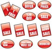 Promotie verkoopetiketten vector illustratie