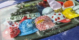 Promotiekappen tijdens Le-Ronde van Frankrijk Stock Fotografie