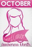 Promotieontwerp met Vrouw en Lint voor de Maand van Borstkanker, Vectorillustratie Stock Afbeeldingen