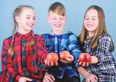 Promoting healthy nutrition. Group teenagers cheerful kids hold apples. Boy and girls friends eat apple. Teens with royalty free stock images