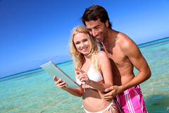 Promoting honeymoon travel destination Stock Photos