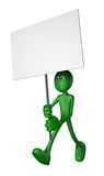 Promotion. Green guy and blank banner - 3d illustration Royalty Free Stock Photos