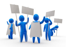 Promotion. Group of men holds posters. Posters are empty - ready for montage of desired sign or copy vector illustration
