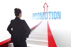 Promotion against red arrow with steps graphic Royalty Free Stock Images