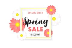Promotion Background Banner Sale Spring Poster. Porster background for promotion sale on spring season. basic color white, black, pink, yellow vector illustration