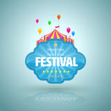 Promotion banner with circus tent and balloon. Vector illustration Stock Photography