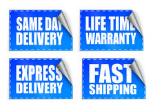 Promotion blue rectangle stickers with curl sets Stock Images