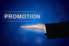 Promotion button on blue background Stock Photos