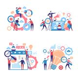 Promotion characters. Business people advertise announcing campaigns through pas vector concept pictures. Illustration of business strategy and promotion royalty free illustration