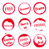 Promotion collection of round watercolor stains. Stock Photos
