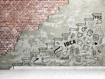 Promotion concept. Painted staircase with draw in the wall. Business draw stock photography