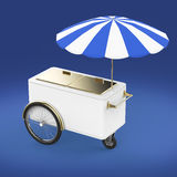 Promotion counter on wheels with umbrella, food, ice cream, hot dog push cart Retail Trade Stand   render. Promotion counter on wheels with umbrella, food, ice Stock Photo