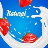 promotion d'annonce de saveur de yaourt de la fraise 3d éclaboussure de lait avec des fruits d'isolement sur le bleu couronne quo Photographie stock libre de droits