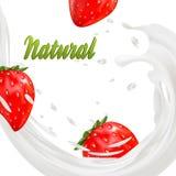 promotion d'annonce de saveur de yaourt de la fraise 3d éclaboussure de lait avec des fruits sur le blanc Images libres de droits