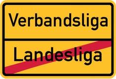 Promotion de la ligue nationale pour matraquer la ligue - signe allemand de village illustration stock