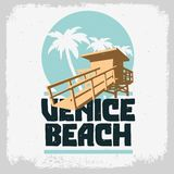 Promotion de Logo Sign Label Design For de palmiers de délivrance de Tower Station Beach de maître nageur de Venice Beach Los Ang illustration stock