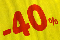 Promotion des ventes - 40% Photos stock