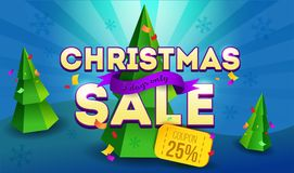 Christmas sale banner with coupon 25% off on blue background. Promotion design template with poly trees, coupon and Christmas Decorations. 3 Day sale. Vector Stock Image