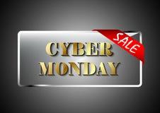 Promotion en acier transparente de conception de bannière de lundi de Cyber Photo libre de droits