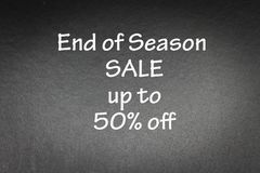 Promotion. End of sales up to 50% off word on Black background for concept and wording Stock Photography