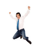 Promotion happy dance. Office worker jumping with joy, isolated Royalty Free Stock Photo