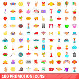 100 promotion icons set, cartoon style. 100 promotion icons set in cartoon style for any design vector illustration Stock Photo