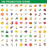 100 promotion icons set, cartoon style. 100 promotion icons set in cartoon style for any design vector illustration Stock Photography