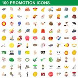 100 promotion icons set, cartoon style. 100 promotion icons set in cartoon style for any design illustration stock illustration