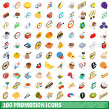 100 promotion icons set, isometric 3d style. 100 promotion icons set in isometric 3d style for any design vector illustration Royalty Free Stock Images
