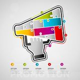 Promotion infographics. Five options promotion timeline infographic design with megaphone icon made out of jigsaw pieces Stock Photography