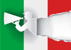Promotion Man Ripping Italy Flag Stock Photography