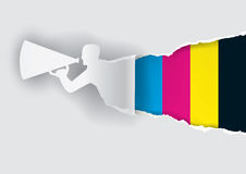 Promotion man ripping paper with print colors. Paper male silhouette advertises color printing with megaphone with place for your text or image.  Concept for Royalty Free Stock Image