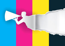 Promotion man ripping paper with print colors. Paper male silhouette advertises color printing with megaphone with place for your text or image.  Concept for Stock Photo