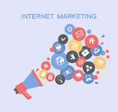 Promotion marketing. Marketing  promotion concept. Megaphone surrounded by  interface icons. File is saved in AI10 EPS version. This illustration contains a Royalty Free Stock Photo
