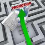 Promotion in Maze - Open Door to Career Success. An arrow shoots through a maze to find an open door to a promotion, symbolizing career success Royalty Free Stock Photography