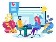 Promotion in the network, manager for remote work, team work on royalty free illustration