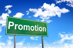 Promotion road sign. On sky background Royalty Free Stock Photo